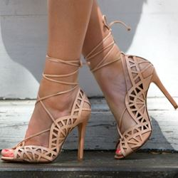 Shoespie Lace up Peep toe Stiletto Heels