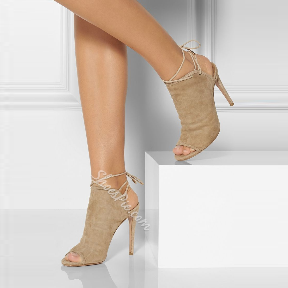 Shoespie Suede Peep-tie Back Lace-up Stiletto Heels