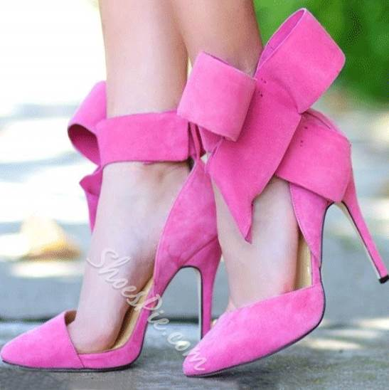 23de8fb2133 Glaring Red Suede Pointed Toe High Heel Sandals with Amazing Bowtie ...