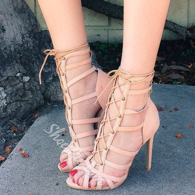 Shoespie Lace-up Cut-out Dress Sandals