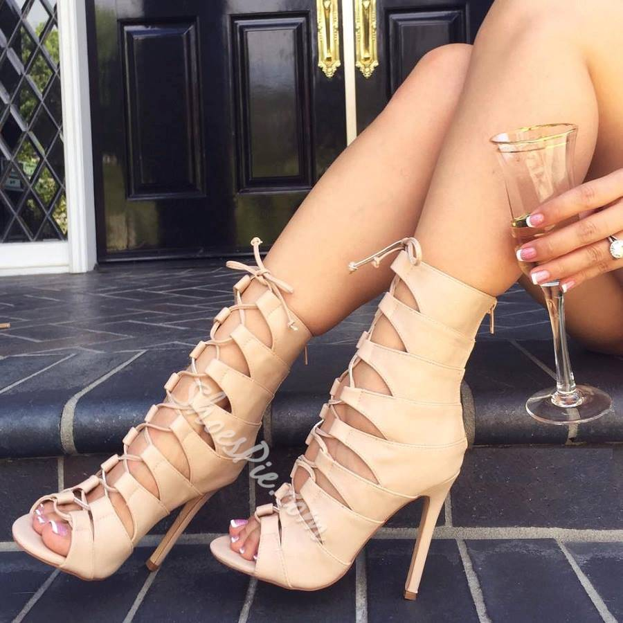 Shoespie Lace-up Cut-out Low Shaft Dress Sandals