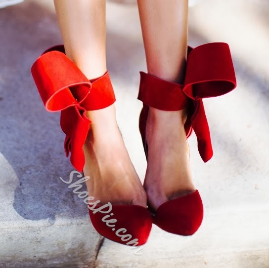 Glaring Red Suede Pointed Toe High Heel Sandals with Amazing Bowtie