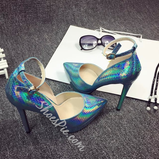 Shoespie Shining Pointed-toe Ankle Wrap Platform Heels