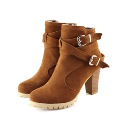Shoespie Nubuck Cross Wrap Buckles Chunky Heel Ankle Boots