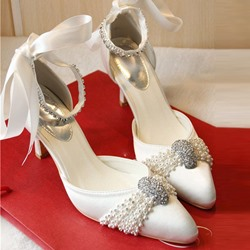 Shoespie Beading Ribbon Bridal Shoes