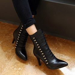Shoespie Buttons Decoration Zipper Ankle Boots