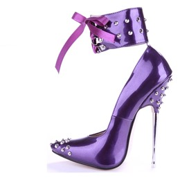 Shoespie Patent Leather Rivets High Heel Stiletto Heels