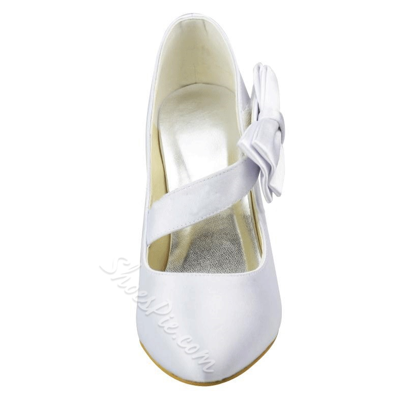 Shoespie Silk Side Bowtie Bridal Shoes