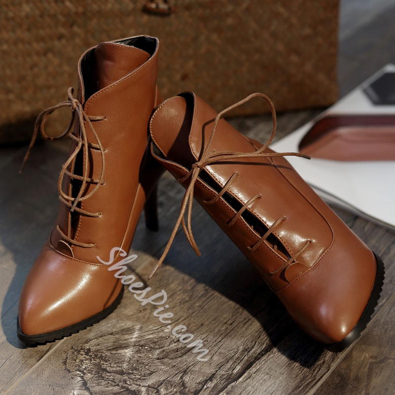 Shoespie Lace-up Pointed-toe Pure Color Ankle Boots