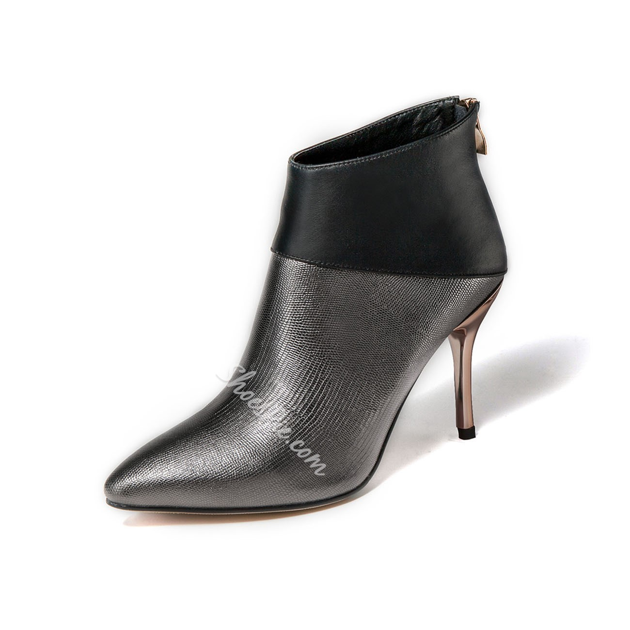 Shoespie Zipper Pointed-toe Ankle Boots