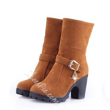 Shoespie Warm Plush Lining Buckle Chunky Heel Ankle Boots