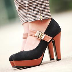 Shoespie Color Block Chunky Heel Platform Heels