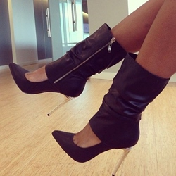 Shoespie Side Zipper Mid-calf Pointed-toe High Heel Boots