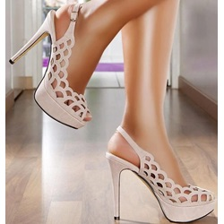 Shoespie Cut-out Solid Color Platform Sandals