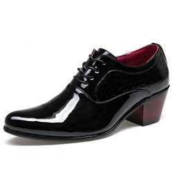 Shoespie Black Block Oxford Men's Dress Shoes