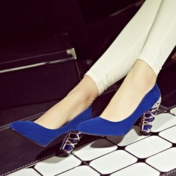 Shoespie Chunky Heel Pointed Toe Low Heels