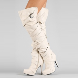 Shoespie Beige Buckle Straps Zipper Over Knee High Boots