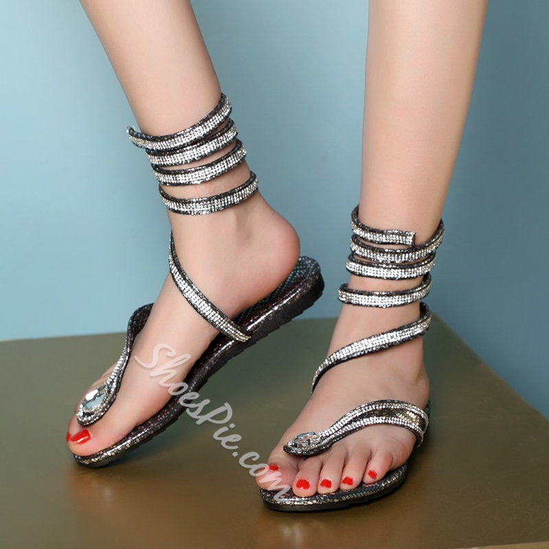 Shoespie Unique Rhinestone Flat Sandals