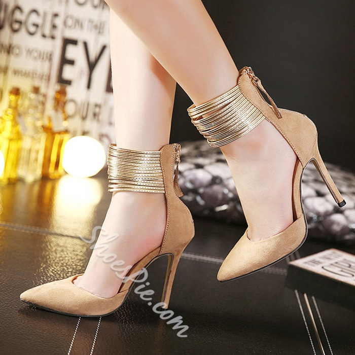 Shoespie Suede Shining Ankle Wrap Zipper Stiletto Heels