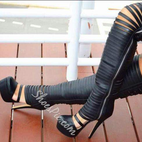 Shoespie Side Zipper Cut outs Over Knee High Boots