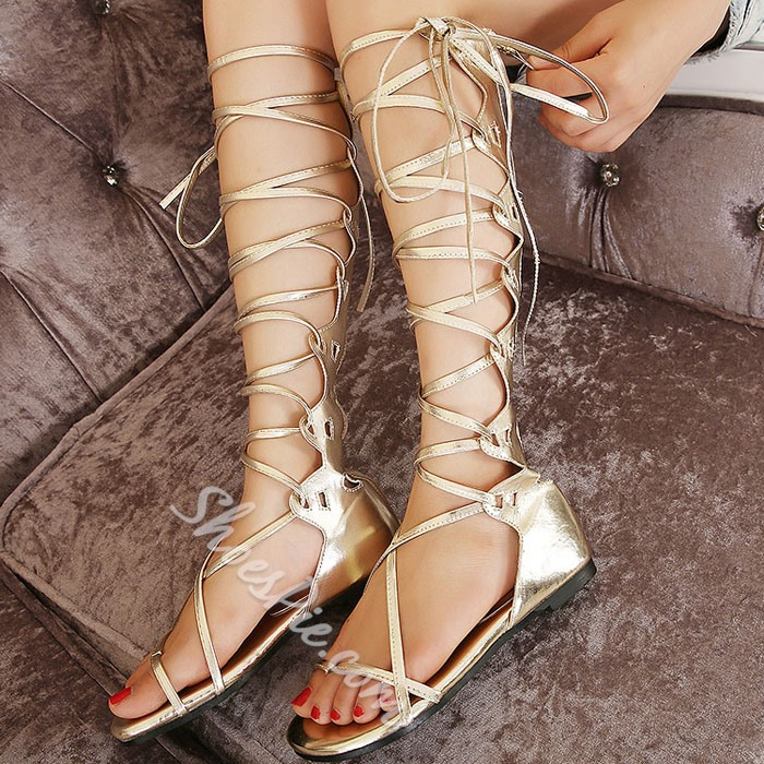 Shoespie Lace-up Zipper Knee High Flat Sandals