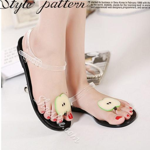 Shoespies Cute Transparent shoelaces Decorated Fruit Flat Sandals