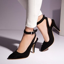Shoespie Nubuck Ankle Wrap Buckles Stiletto Heels