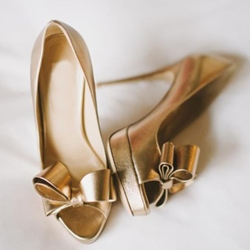 Shoespie Golden Bow Peep-toe Platform Heels