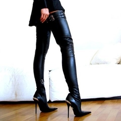 Shoespie Metal Decoration Zipper Over Knee High Boots