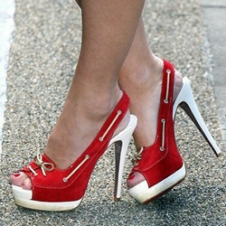 Shoespie Red Suede Peep-toe Platform Heels