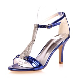 Shoespie Rhinestone Patent Leather T-strap Dress Sandals
