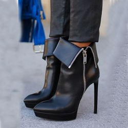 Shoespie Side Zipper Decoration Ankle Boots