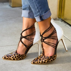 Shoespie Leopard Contrast Zipper Stiletto Heels