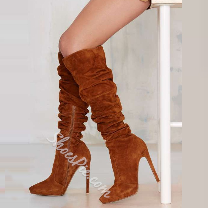 Shoespie Suede Zipper Stiletto Knee High Boots