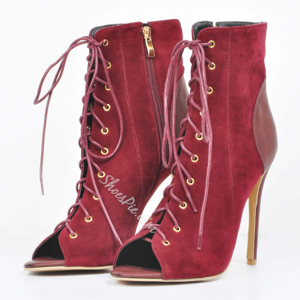 Shoespie Nubuck Side Zipper Lace up Ankle Boots