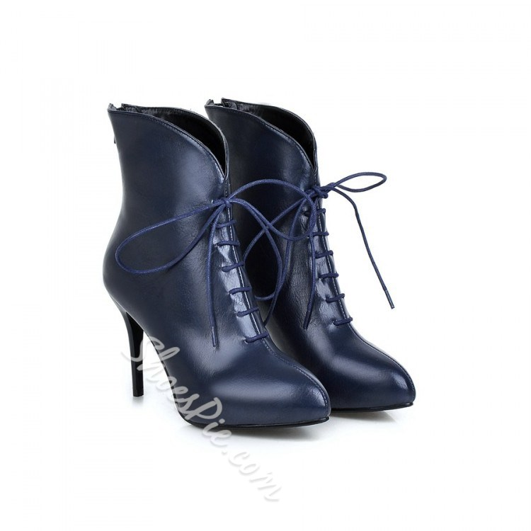 Shoespie Laceup Solid Color Ankle Boots