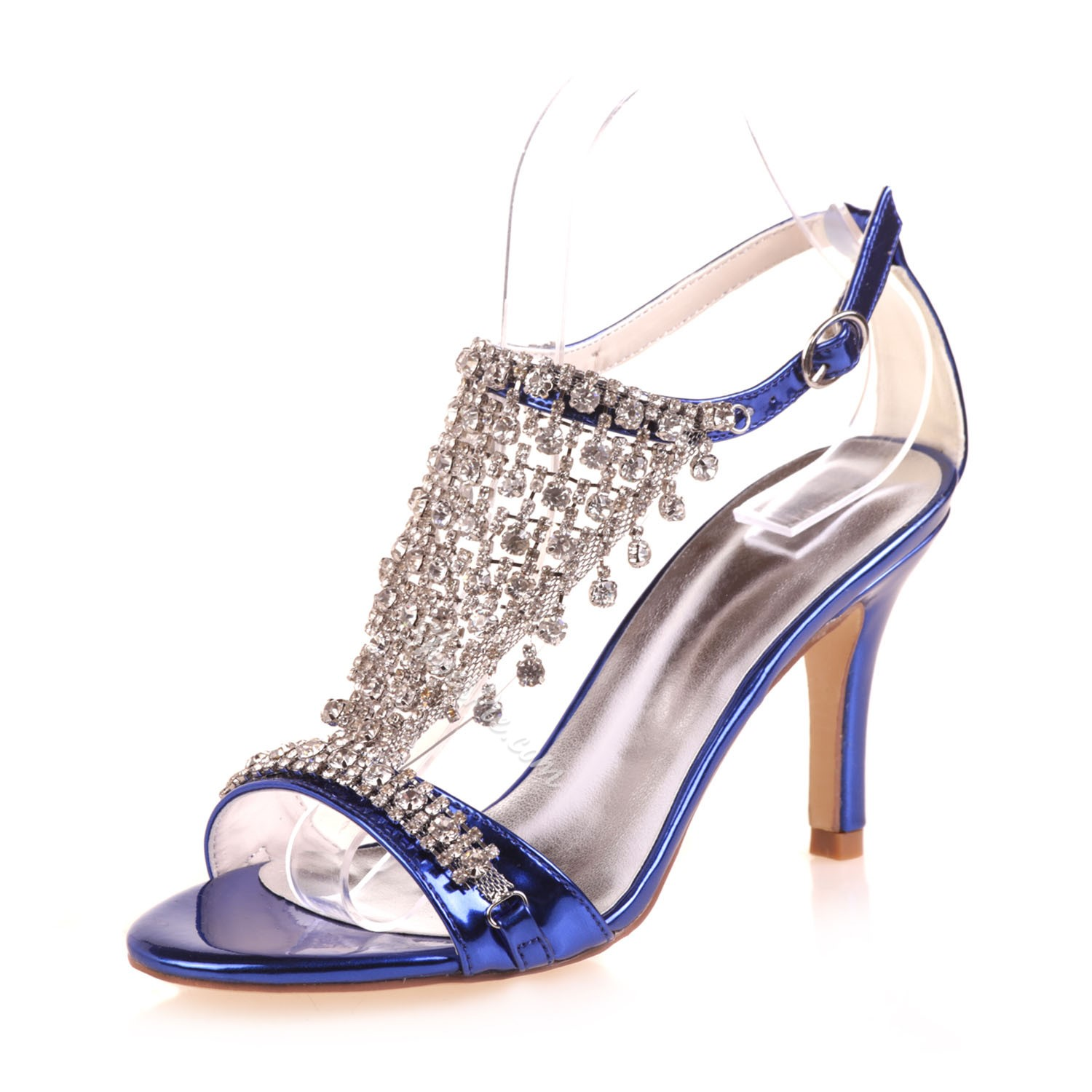 Shoespie Rhinestone Patent Leather Dress Sandals