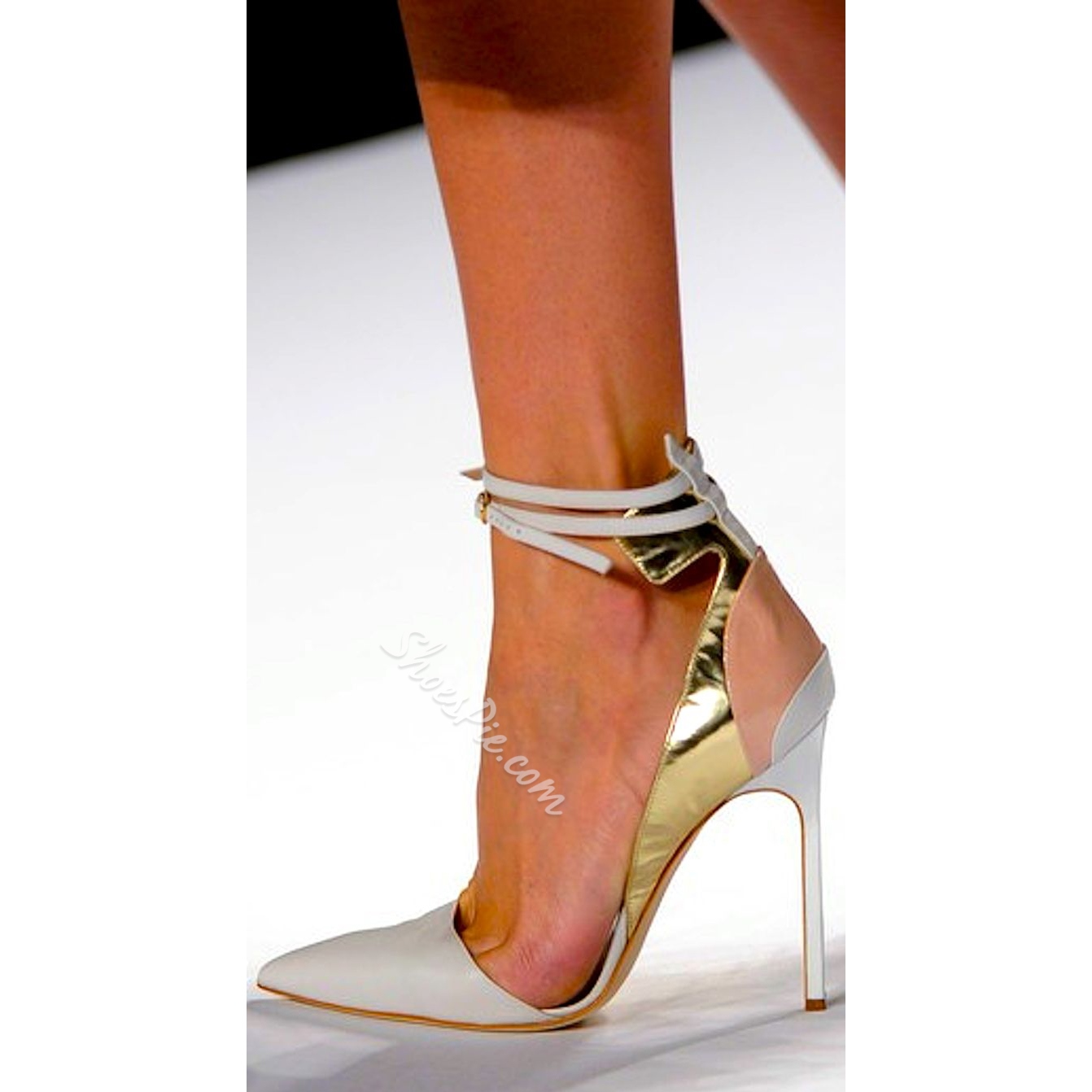 Shoespie White Metal Decoration Ankle Wrap Stiletto Heels