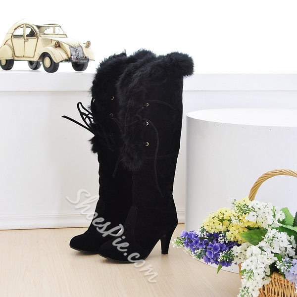 Shoespie Plush Lace up Stiletto Knee High Boots