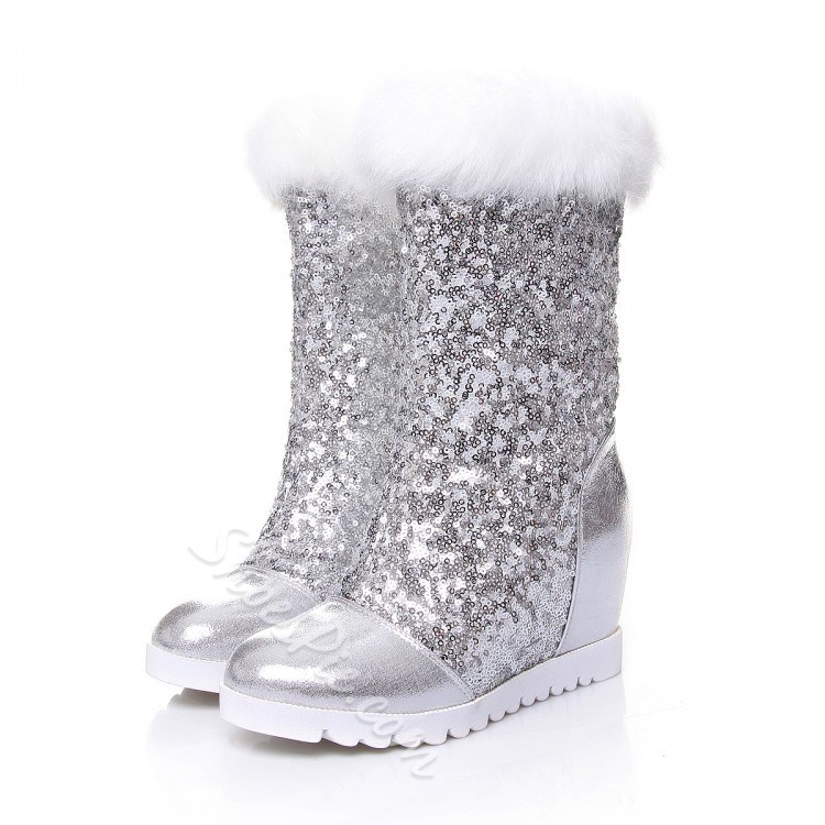 Shoespie Sequined Fur Mid-calf Snow Boots