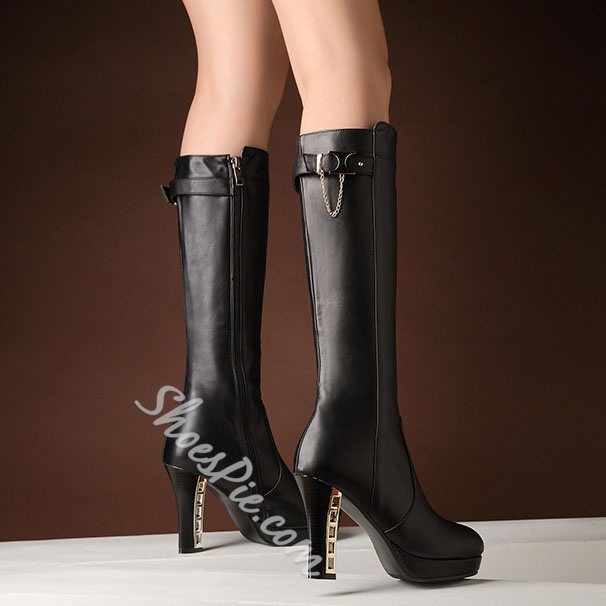 Shoespie Metal Decoration Heel Knee High Boots