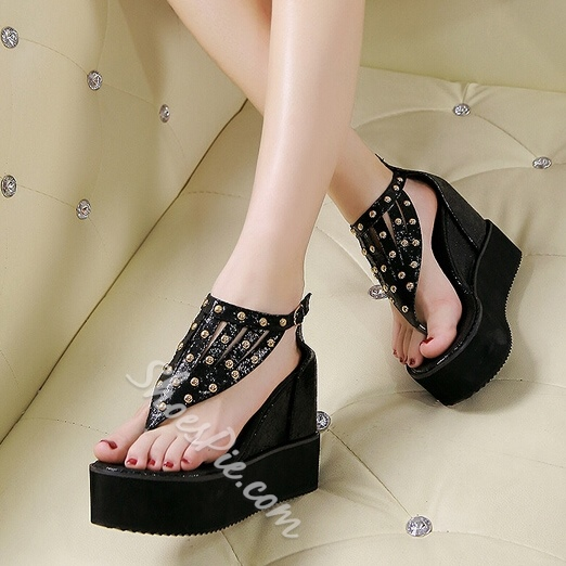 Shoespie Rhinestone Thong Wedge Sandals