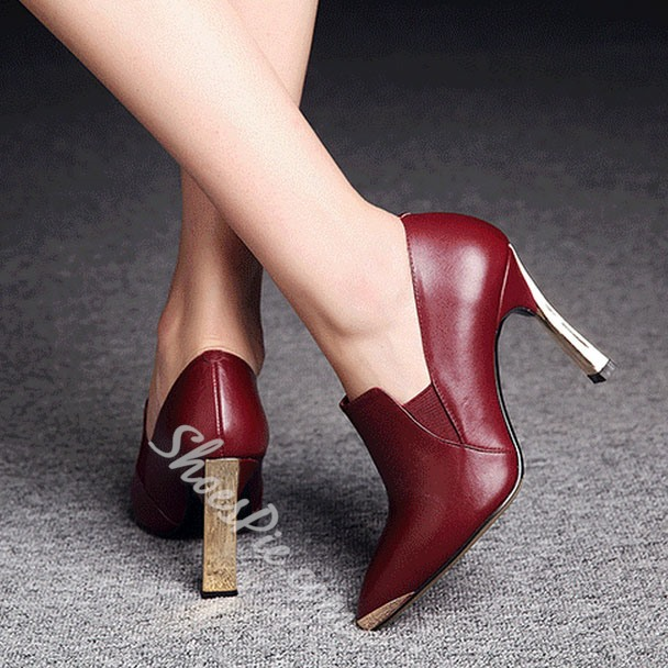 Shoespie Metal Decoration Pointed-toe Ankle Boots