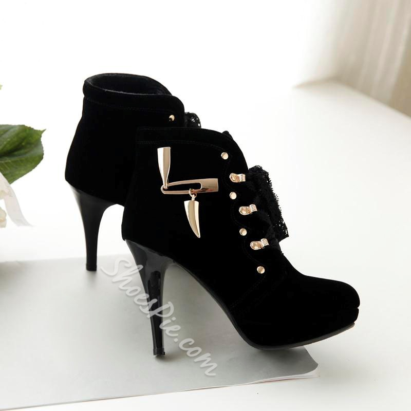 Shoespie Nubuck Metals Lace Ankle Boots