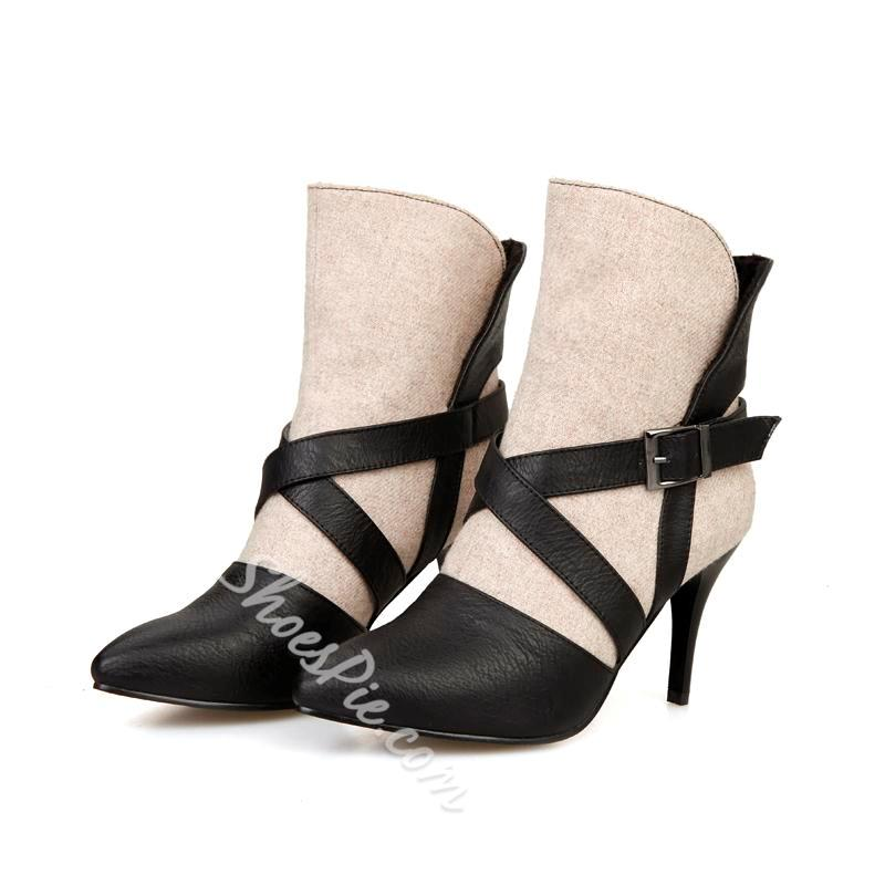Shoespie Color Block Stiletto Ankle Boots