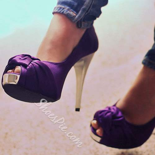 Shoespie Purple Satin Peep-toe Heels
