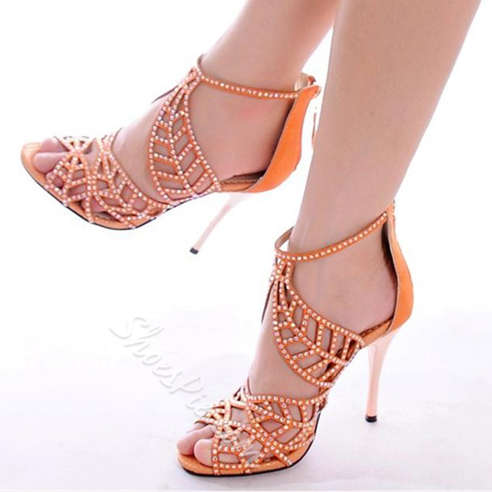 Shoespie Rhinestone Candy Color Dress Sandals