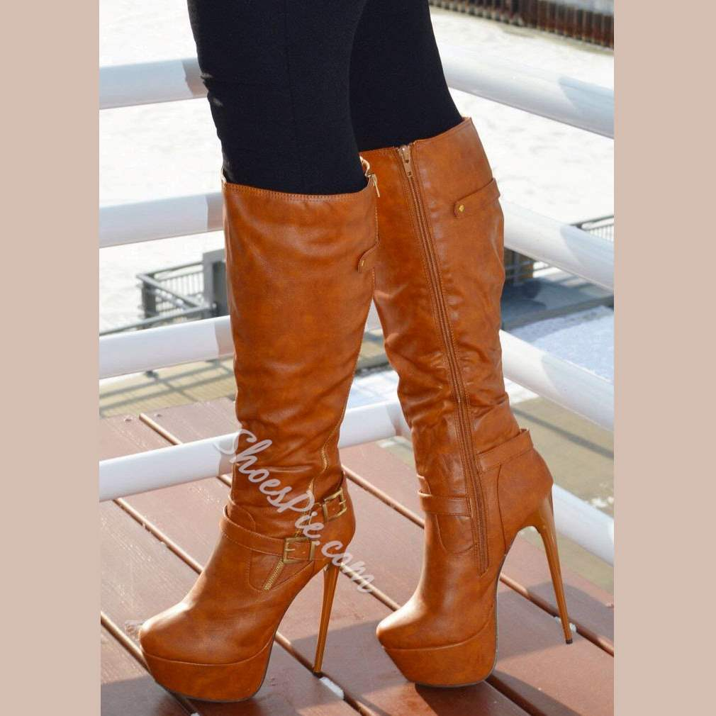 Shoespie Brown Side Zipper Knee High Boots