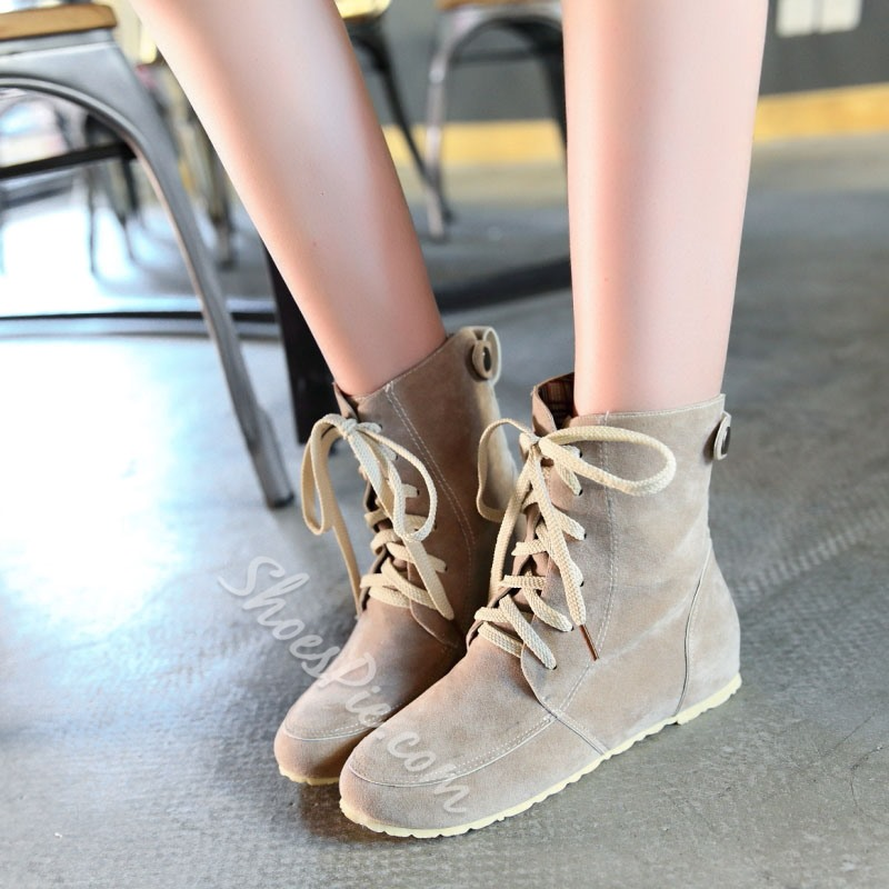 Shoespie Nubuck Lace up Flat Boots