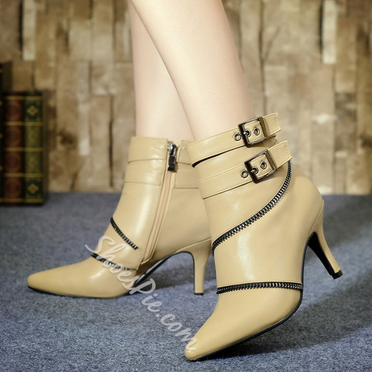 Shoespie Buckles Cross Zipper Pointed-toe Ankle Boots